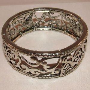 Jewelry - Bracelet Stretch Silver Tone Chrome Elastic New